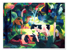 Premium poster  Landscape with Cows and a Camel - August Macke