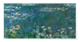 Premium poster  Waterlilies, Green Reflections - Claude Monet