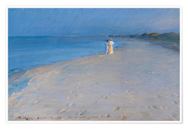 Premium poster Summer evening at the South Beach, Skagen. Anna Ancher and Marie Krøyer.