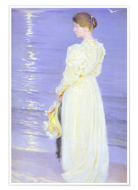 Premium poster Woman in White on a Beach