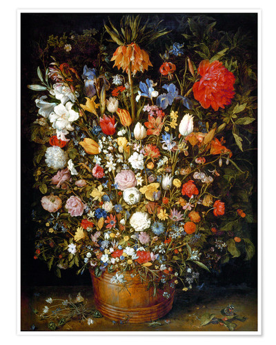 Premium poster Large bouquet of flowers in a wooden tub