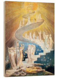 Wood print  Jacob's ladder - William Blake