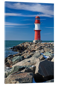 Acrylic print  Lighthouse on the Baltic Sea coast in Warnemuende (Germany) - Rico Ködder