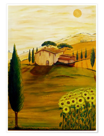 Premium poster  Sunflowers in Tuscany - Christine Huwer