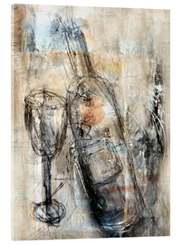 Acrylic print  Wine bottle and glass - Christin Lamade