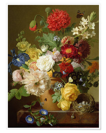 Premium poster  Flower Still Life on a marble ledge - Jan Frans van Dael