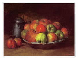 Premium poster  Still Life with Apples and a Pomegranate - Gustave Courbet