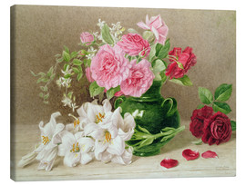Canvas print  Roses and lilies - Mary Elizabeth Duffield