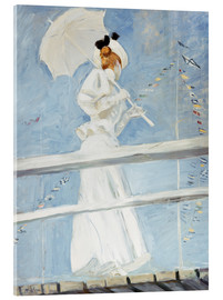 Acrylic print  Young woman with umbrella at the pier - Paul Cesar Francois Helleu