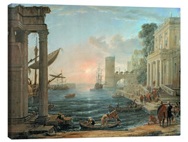 Canvas print  Seaport with the Embarkation of the Queen of Sheba - Claude Lorrain