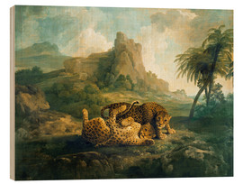 Wood print  Leopards at Play - George Stubbs