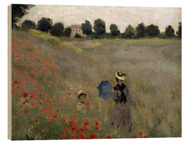 Wood print  Poppy field at Argenteuil, detail - Claude Monet