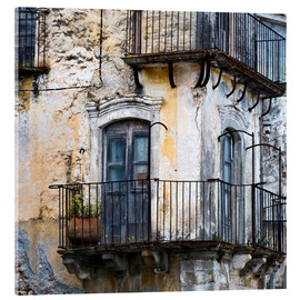 Acrylic print  Medieval facade in the Sicilian mountain village Forza d'Agro - CAPTAIN SILVA