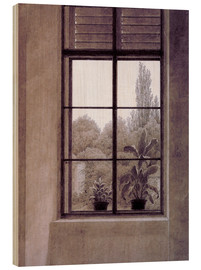 Wood print  Window w.view o.park - Caspar David Friedrich