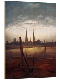 Wood print  City at Moonrise - Caspar David Friedrich