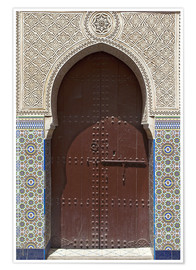 Premium poster  Wooden door in decorated archway - Nico Tondini