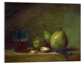 Acrylic print  Pears, nuts, and a cup of wine - Jean Simeon Chardin
