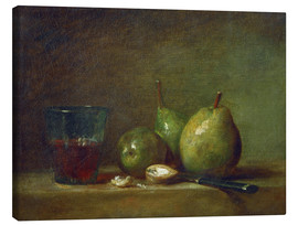 Canvas print  Pears, nuts, and a cup of wine - Jean Simeon Chardin