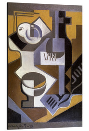 Aluminium print  Still life with wine bottle - Juan Gris