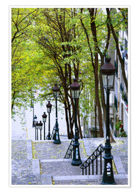 Premium poster  Stairs to the Place du Sacré-Coeur - Walter Bibikow