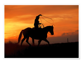 Premium poster  Cowboy with horse in the sunset - Joe Restuccia III