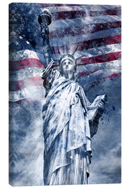 Canvas print  Modern Art STATUE OF LIBERTY blue - Melanie Viola