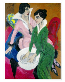 Premium poster  Two women with washbasin, The sisters - Ernst Ludwig Kirchner