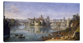 Canvas print  The Tiber Island in Rome. 1685 - Gaspar van Wittel