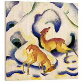 Wood print  Deer in the snow - Franz Marc