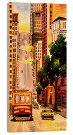 Wood print  San Francisco - Van Ness Cable Car - M. Bleichner