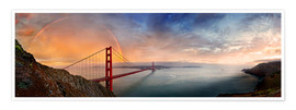 Premium poster  San Francisco Golden Gate with rainbow - Michael Rucker