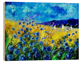 Wood print  Cornflowers field - Pol Ledent