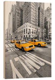 Wood print  Yellow Taxi / Cab, New York - Marcus Klepper