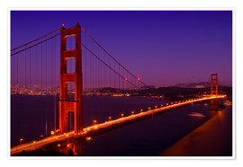 Premium poster  Golden Gate Bridge by Night - Melanie Viola