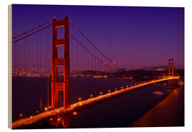 Wood print  Golden Gate Bridge by Night - Melanie Viola