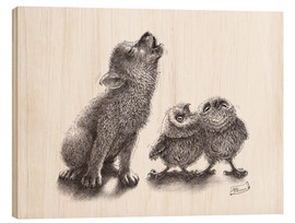 Wood print  Howling wolf meets howling owls - Stefan Kahlhammer