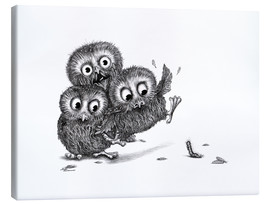 Canvas print  Three Owls and a Monster - Stefan Kahlhammer