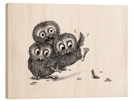 Wood print  Three Owls and a Monster - Stefan Kahlhammer