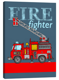 Canvas print  fire fighter fire truck - Fluffy Feelings