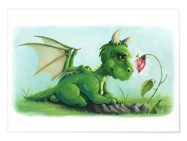 Premium poster Dragon with a little fairy