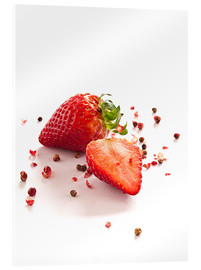 Acrylic print  Strawberries with red peppercorns - Edith Albuschat