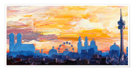 Premium poster  Munich Skyline at Dusk with Alps - M. Bleichner