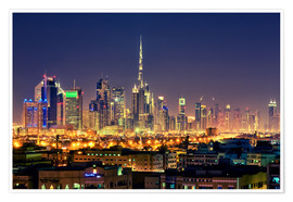 Premium poster Dubai skyline at night