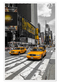 Premium poster Yellow cabs on Time Square 2