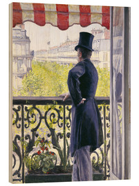 Wood print  Man on a balcony - Gustave Caillebotte