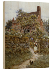 Wood print  The Black Kitten - Helen Allingham