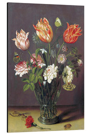 Aluminium print  Tulips with other Flowers in a Glass on a Table - Jan Brueghel d.Ä.