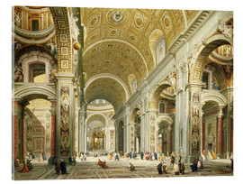 Acrylic print  Interior of St. Peter's Basilica, looking west to the tomb of St. Peter's - Giovanni Paolo Pannini