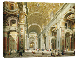 Canvas print  Interior of St. Peter's Basilica, looking west to the tomb of St. Peter's - Giovanni Paolo Pannini