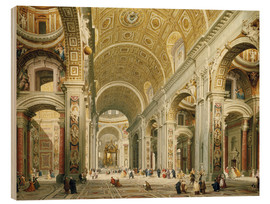 Wood print  Interior of St. Peter's Basilica, looking west to the tomb of St. Peter's - Giovanni Paolo Pannini
